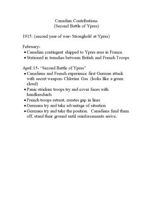 1915: (Second Year of War- Stronghold at Ypres)