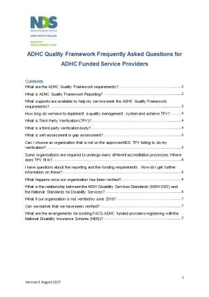 ADHC Quality Frameworkfrequently Asked Questionsfor ADHC Funded Service Providers