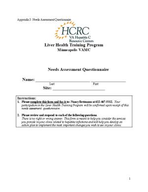 Appendix 3: Needs Assessment Questionnaire