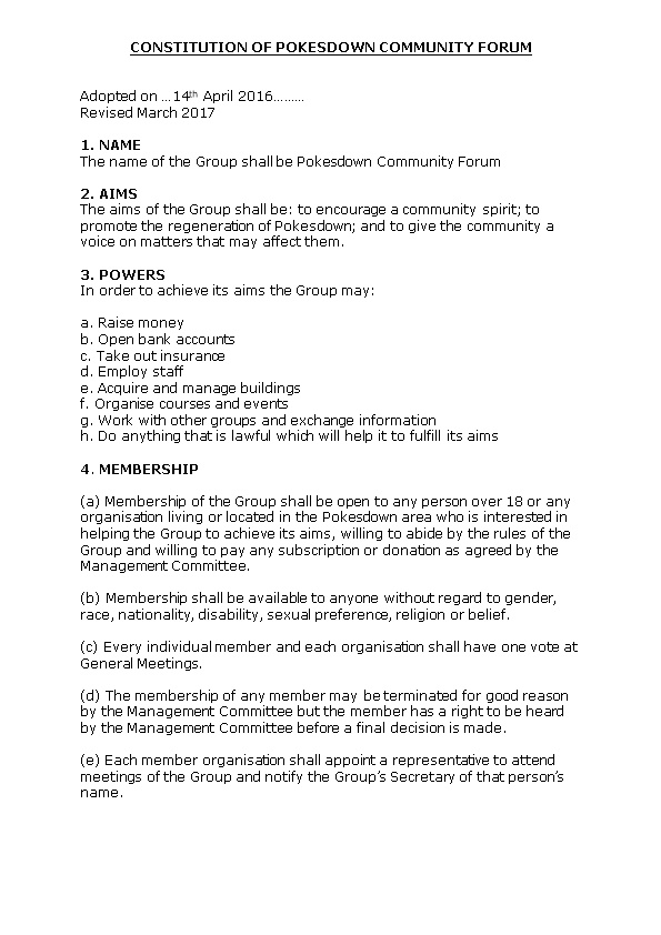 Constitution of Pokesdown Community Forum
