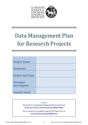 Data Management Plan for Research Projects