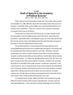 Draft of Speech to the Academy