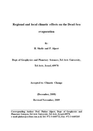 Evaporation at the Dead-Sea in the Different Synoptic Systems and Its Relation to Global