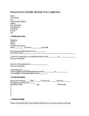 Financial And/Or Disability Hardship Waiver Application