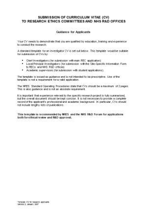 Guidance on Submission of CV