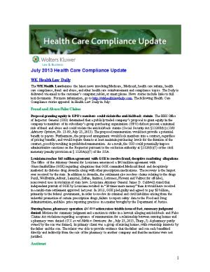 July 2013 Health Care Compliance Update