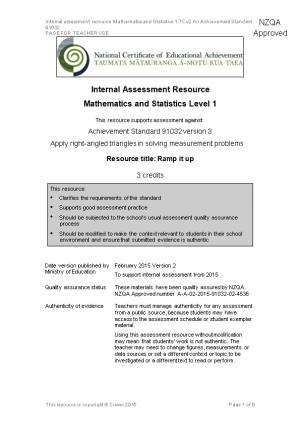 Level 1 Mathematics & Statistics Internal Assessment Resource
