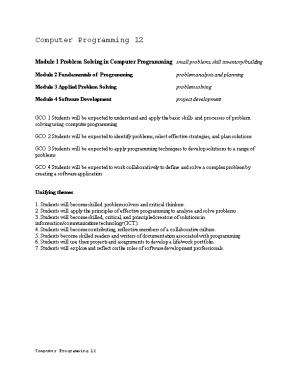 Module 1 Problem Solving in Computer Programming Small Problems, Skill Inventory/Building