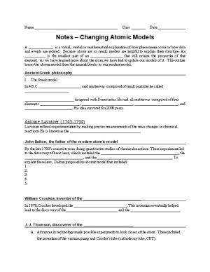 Notes Changing Atomic Models