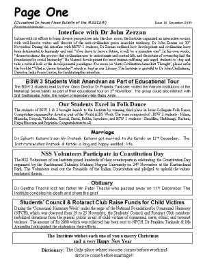 (Occasional In-House News Bulletin of the MSSISW) Issue 10. December 2009