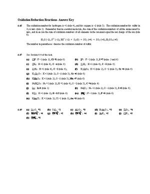 Oxidation Reduction Reactions- Answer Key