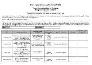Pre-Hospital Emergency Medicine (PHEM)