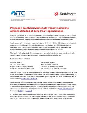 Proposed Southern Minnesota Transmission Line Options Detailed at June 20-21 Open Houses