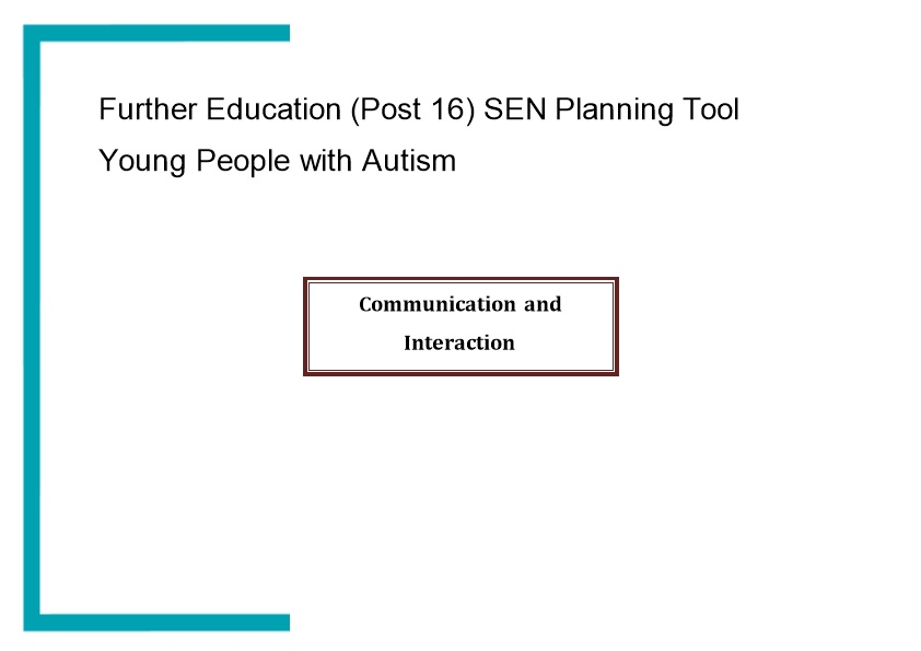 SEN Planning Tool for Young People with Autism March 2015