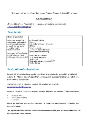 Serious Data Breach Notification Submission - Information Systems Audit and Control Association