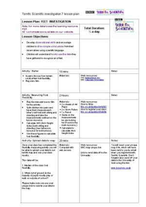 Terrific Scientific Investigation 7 Lesson Plan