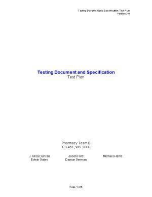 Testing Document and Specification