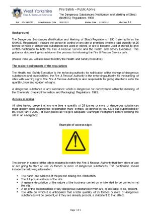 The Dangerous Substances (Notification and Marking of Sites) (NAMOS) Regulations 1990