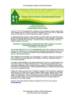 The Hope Starts Here Education Fund for Students Experiencing Homelessness