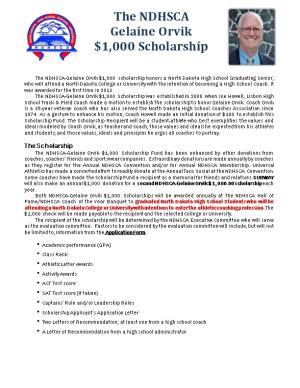 The NDHSCA-Gelaine Orvik Scholarship
