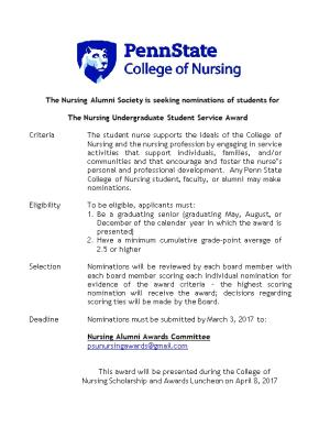 The Nursing Alumni Society Is Seeking Nominations of Students For