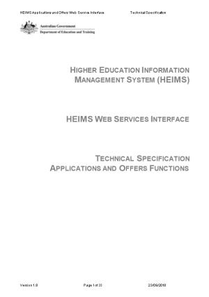 University Applications and Offers Data - HEIMS Web Services Technical Specification
