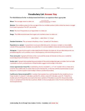 Vocabulary Listanswer Key