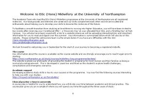 Welcome to Bsc (Hons) Midwifery at the University of Northampton