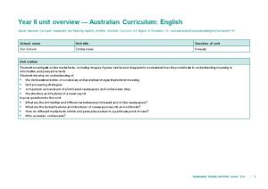Year 6 Unit Overview Australian Curriculum: English